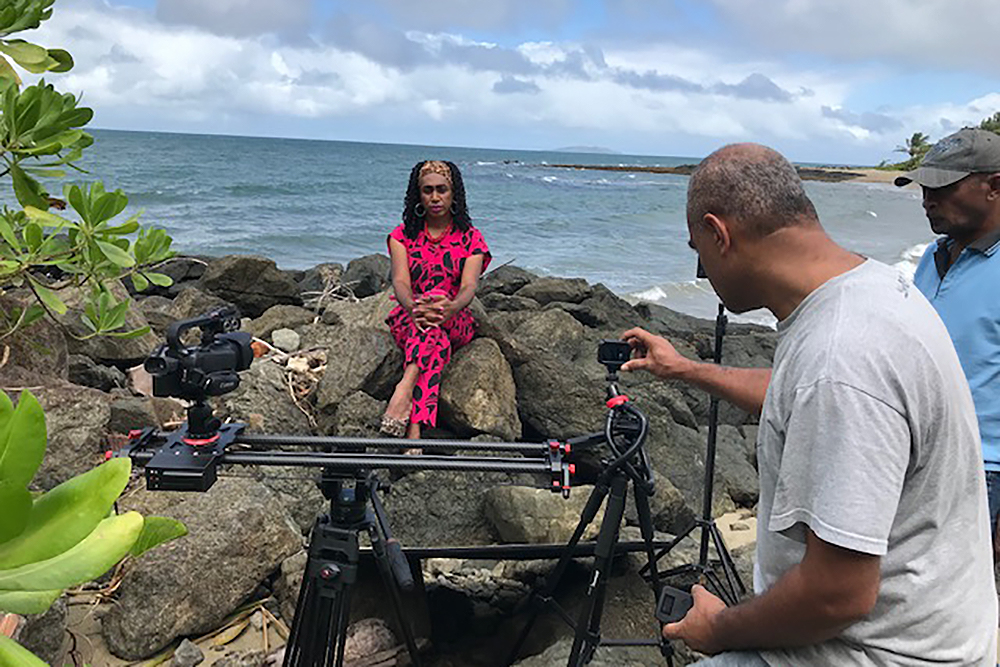 """""""Filmmaker Larry Thomas filming with Rani, a trans woman from Fiji"""""""